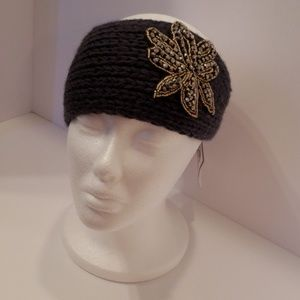 Accessories - Knitted Sweater Bling Headband- Gray